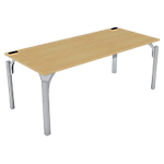 Bureau droit 4You 1 800 x 800 x 720 mm Imitation hêtre, gris aluminium