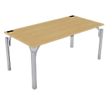 Bureau droit 4You 1 600 x 800 x 720 mm Imitation hêtre, gris aluminium