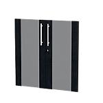 Jeu de 2 portes vitrées bibliothèque H. 80 cm Noir cendré Flora Imitation frêne noir 18 x 800 x 770 mm Hauteur pas Réglable