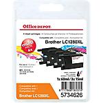 Cartouche jet d'encre Office Depot Compatible Brother LC1280XL Noir, Cyan, Magenta, Jaune 4 Unités