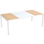Table de réunion 4 pieds Paperflow EasyOffice Imitation hêtre, blanc 2200 x 1140 x 750 mm