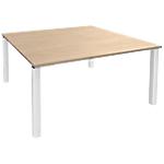 Table de réunion 4 pieds Blanc Expert Imitation chêne, blanc 1400 x 1400 x 725 mm Hauteur pas Réglable