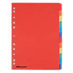 Intercalaires Office Depot Carte forte A4 Assortiment 12 intercalaires Perforé Papier Manila Vierge