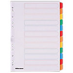 Intercalaires Office Depot 28092 A4 Assortiment 12 intercalaires Perforé Carte, Mylar Vierge