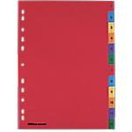 Intercalaires Office Depot A4 Coloré 12 intercalaires Perforé PP 1 à 12