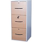Classeur monobloc 3 tiroirs pour dossiers suspendus Elégance 420 x 440 x 1010 mm Imitation hêtre, blanc