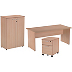 Ensemble bureau + caisson mobile + armoire mi haute Easy Imitation Hêtre