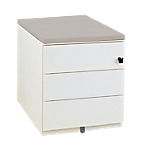 Caisson mobile 3 tiroirs Gautier Office Sunday 420 x 570 x 500 mm Blanc, gris