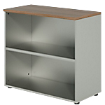 Bibliothèque basse Dual 80 x 45 x 73 cm Imitation noyer, gris aluminium