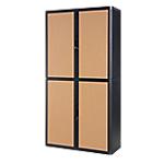 Armoire portes à rideaux Paperflow easyOffice 110 (L) x 204 (l) cm Noir, Imitation Hêtre