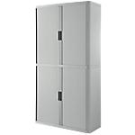 Armoire portes à rideaux   H. 204 x L. 110 cm   Paperflow   easyOFFICE   décor uni gris