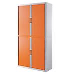 Armoire portes à rideaux   H. 204 x L. 110 cm   Paperflow   easyOFFICE   décor couleur orange