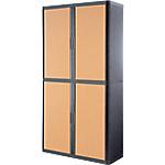 Armoire portes à rideaux Paperflow easyOffice 110 (L) x 204 (l) cm Anthracite, Imitation Hêtre