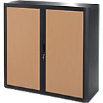 Armoire portes à rideaux Paperflow easyOffice 110 (L) x 104 (l) cm Noir, Imitation Hêtre