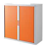 Armoire basse à rideaux Paperflow easyOffice 1 100 x 415 x 1 040 mm Blanc, orange