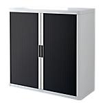 Armoire portes à rideaux   H. 104 x L. 110 cm   Paperflow   easyOFFICE   décor couleur noir