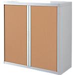 Armoire portes à rideaux Paperflow easyOffice 110 (L) x 104 (l) cm Blanc, Imitation Hêtre