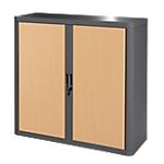 Armoire portes à rideaux Paperflow easyOffice 110 (L) x 104 (l) cm Anthracite, Imitation Hêtre