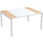 Table de réunion 4 pieds Paperflow EasyOffice Imitation hêtre, blanc 1500 x 1140 x 750 mm
