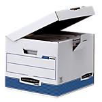6 conteneurs recyclés pour boîtes archives   Fellowes   Flip Top Cube   blanc & bleu
