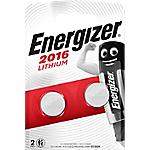 Piles bouton Energizer Lithium 3V CR2016   2 Unités