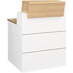 Comptoir banque droite Gautier Office SUNDAY Accueil 800 x 1100 x 800 mm Blanc, Imitation Chêne