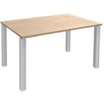 Bureau droit 4 pieds Blanc Expert Imitation chêne, blanc 1200 x 800 x 725 mm Hauteur pas Réglable