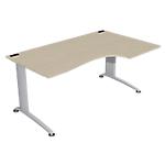 Bureau compact retour à droite Integral 1600 x 1000 x 720 mm Imitation chêne, gris aluminium