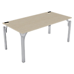 Bureau droit 4You 160 (l) x 80 (P) x 72 (H) cm Imitation chêne, gris aluminium
