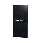 Jeu de 2 portes pleines bibliothèque H. 154 cm Noir cendré Flora Imitation frêne noir 18 x 800 x 1538 mm Hauteur pas Réglable