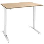 Bureau assis debout Piètement en L e Adjust Imitation chêne, blanc 1200 x 800 x 1200 mm Hauteur Ajustable électriquement