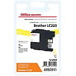 Cartouche jet d'encre Office Depot Compatible Brother LC223Y Jaune