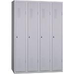 Vestiaire Industrie Propre monobloc 4 colonnes 1200 x 500 x 1800 mm Gris
