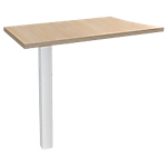 Extension de bureau vague 4 pieds Blanc Expert Imitation chêne, blanc 800 x 420 x 725 mm Hauteur pas Réglable