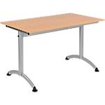 Table de réunion Modulo 1200 x 700 x 750 mm Argenté, Imitation Hêtre