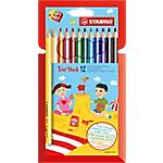 Crayons de couleur STABILO Trio + 1 taille crayon Assortiment   12 Unités