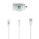 Chargeur voiture Raven Design Androïd, Apple 2x USB + câbles Blanc