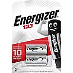 Piles bouton Energizer Lithium 3V CR123A   2 Unités