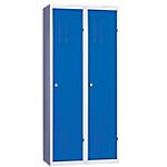 Vestiaire Industrie Salissante monobloc 2 colonnes 800 x 500 x 1800 mm Bleu