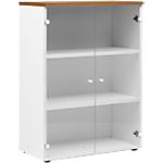 Armoire bibliothèque H. 109 cm 2 portes verre Gautier Office Top Line 800 x 420 x 1090 mm Imitation merisier, blanc