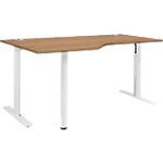 Bureau compact 90° réglable en hauteur T Pied Gautier Office TopLine Imitation merisier, blanc 1600 x 1050 x 740 mm Hauteur Ajustable