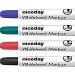 Marqueur pour tableau blanc Niceday WCM1 5 Biseauté 5 mm Noir, bleu, rouge, vert   4 Unités