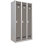 Vestiaire Industrie Propre 3 colonnes 900 x 500 x 1800 mm Gris, taupe