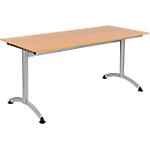 Table de réunion Modulo 1600 x 700 x 750 mm Argenté, Imitation Hêtre