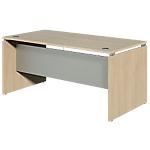 Bureau droit Dual 1400 x 800 x 730 mm Imitation chêne, gris aluminium