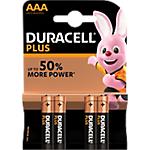 Piles alcalines Duracell Plus Power AAA 4 Unités