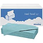 Essuie mains Niceday 1 épaisseur Pliage en V Bleu   20 Unités de 250 Feuilles