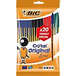 Stylo bille avec capuchon BIC Cristal Original 0.30 mm Assortiment   20 Unités