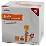 Piles alcalines Ativa Longlife AA 16 Unités