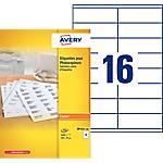 Étiquettes Avery DP165 100 Blanc 105 x 35 mm 100 Feuilles de 16 Étiquettes